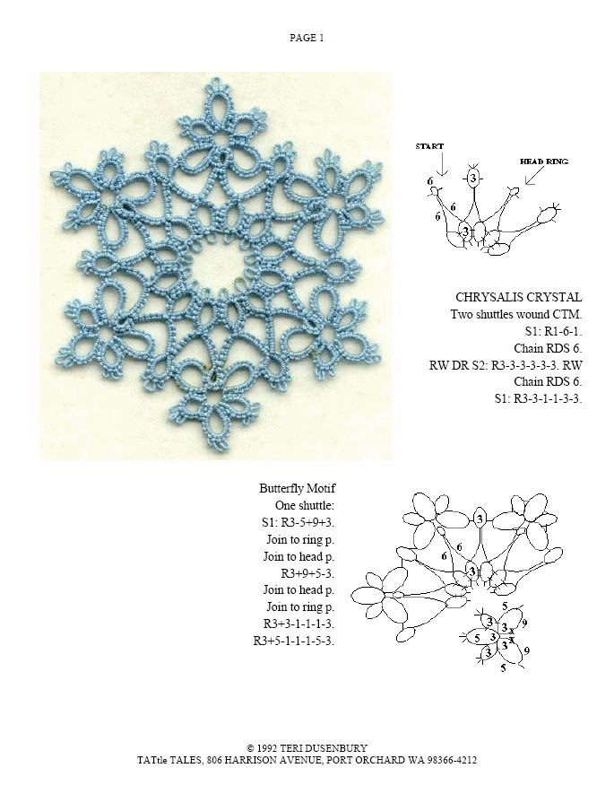 TATtle TALES Tatting Patterns: Tatting Snowflake Pattern Chrysallis Crystal