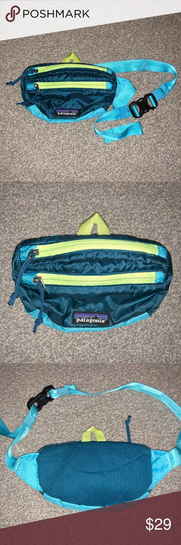 Patagonia Adjustable Waist Hip Bag Fanny Pack It sits around your waist like a traditional fanny pack, but can also be slung comfortably over your shoulder and even packs into its own internal pocket when you have your passport, phone, wallet, and emergency snack tucked away elsewhere.   Nylon ripstop fabric Water-resistant PU coating Internal security pocket doubles as a stuff sack Front pocket Herringbone webbing belt 1 main, 1 zippered security, 1 front Patagonia Bags
