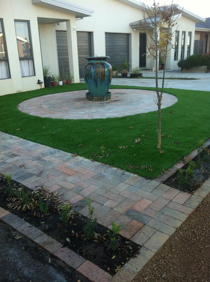 J.P.B Paving and Landscaping Canberra Water Feature, Paved Circle and Turf