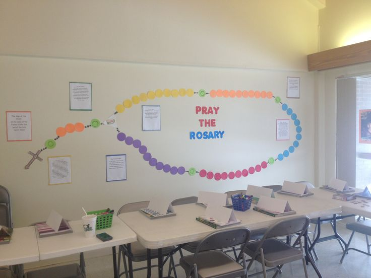 A wall rosary I made for my friend's 7th grade CCD class! The prayers are all around it also.