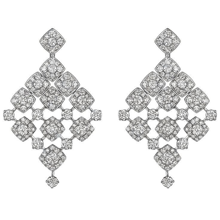 """""""Signature Dangling"""" #Earrings from #SignatureDeChanel - #Chanel - #FineJewellery collection in 18K white gold set with 244 #BrilliantCut - #Diamonds (total weight 12 cts) - January 2016"""