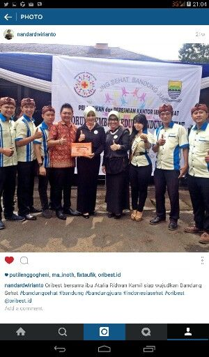 Oribest with ibu walikot Bandung support BandungSehat#Bandubgjuara