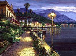 Lights of Bellagio, Kézi díszített Giclee vászon, 24 x 32