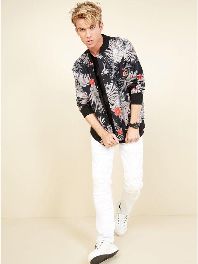 GUESS Men's Venice Palm Print Bomber Jacket