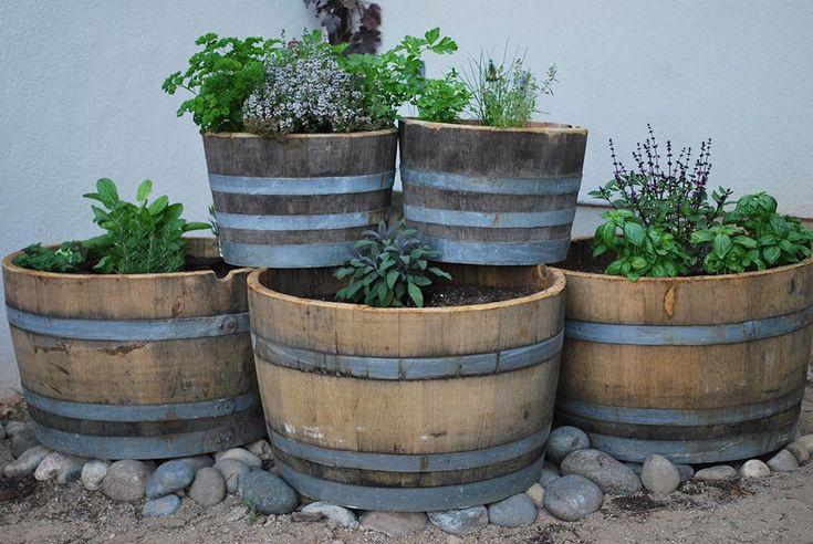 11 best old washing machine planter images on pinterest for Wooden barrel planter ideas