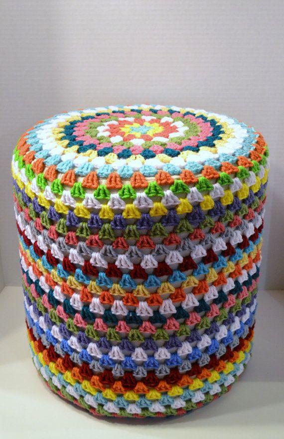 Crochet Footstool Pouf Hassock Ottoman Granny by LittlestSister, $62.50
