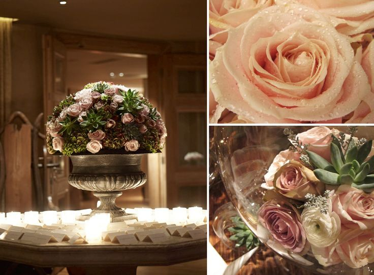 The details of the floral compositions.. Silver and crystal vases!Different hues of pink with green details!