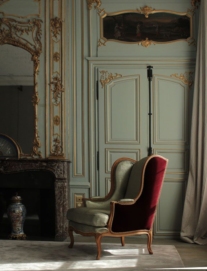 We have a country french chair like this one from Ethan Allen, years ago.  It originally was two toned  with pink velvet on one side & pink satin on the other.  Now, it's been reupholstered in black leather with nail heads 4 your daddy...looks masculine ;)