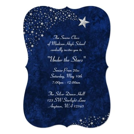 66 best prom images on pinterest invitation invitations and lyrics silver falling stars blue prom formal invitations stopboris Images
