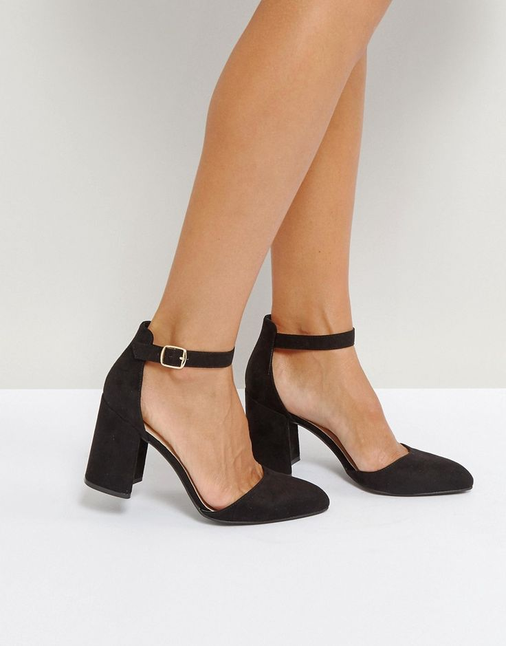 Qupid Block Point High Heels - Black
