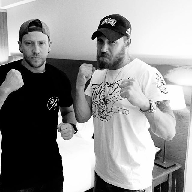 Tommy wearing his new Rum Knuckles tee. This and the whole new collection in store now at www.rumknuckles.com #rugman #rumknuckles #tom #hardy #twotwos #hardy #boxing #inklife #beard #love #london #legend #instagold @tomhardydotorg @biggusthomas