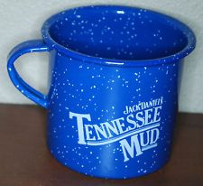 Vintage Granite Ware Blue Enamel Jack Daniels Tennessee Mud Tin Coffee Cup