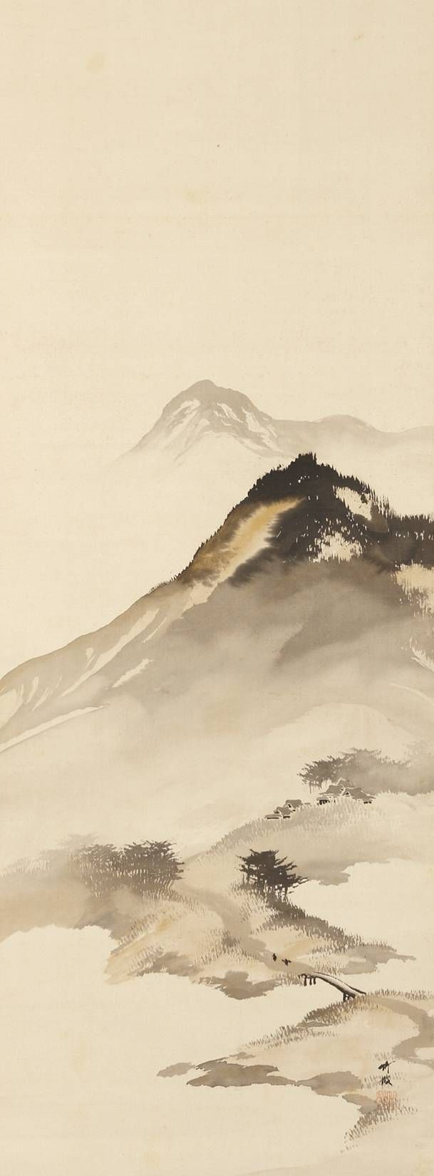 Mountain Landscape with Bridge by Odake Chikuha, 1878-1936 尾竹竹坡 Japan  chinese landscape