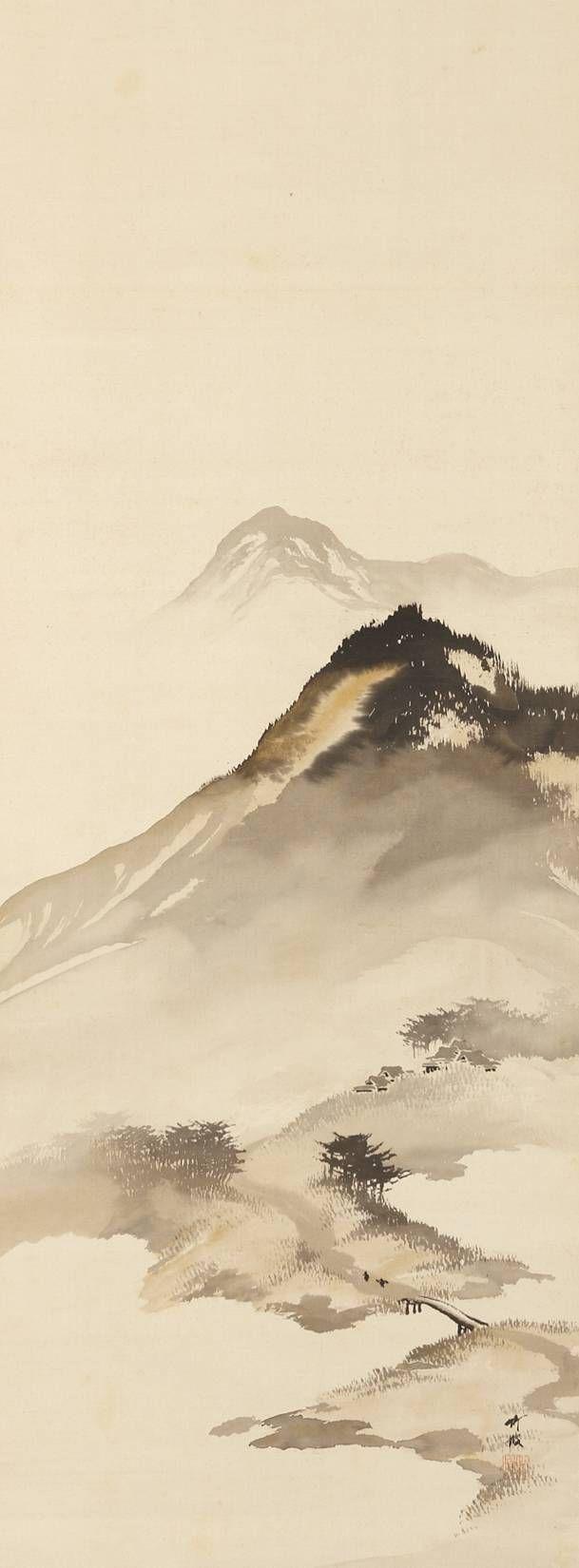 Mountain Landscape with Bridge by Odake Chikuha, 1878-1936 尾竹竹坡 Japan  chinese landscape