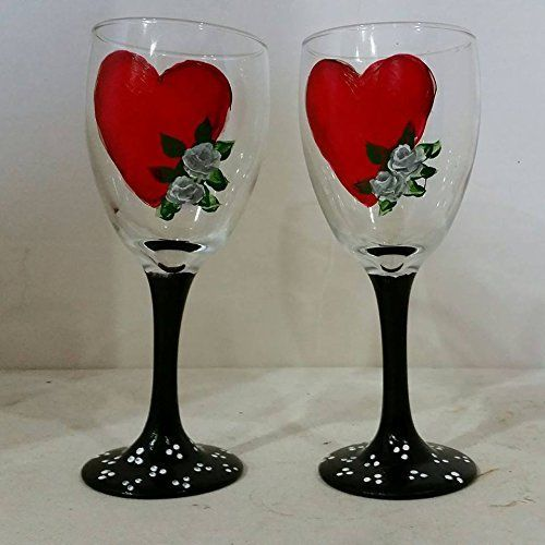 Valentine's Day Heart Wine Glasses set of 2 hand painted by Mary Wilson