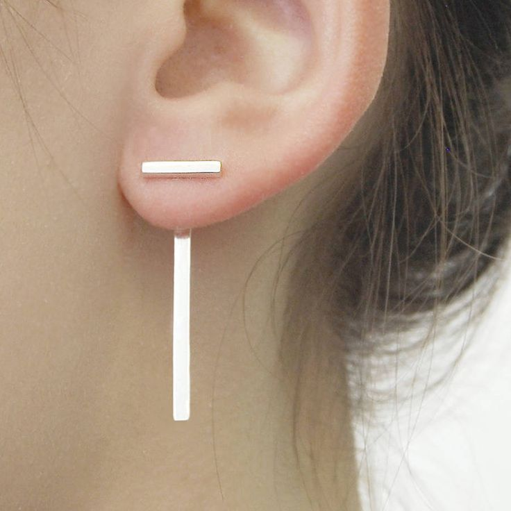 silver t bar two way earring jackets by otis jaxon silver and gold jewellery | notonthehighstreet.com