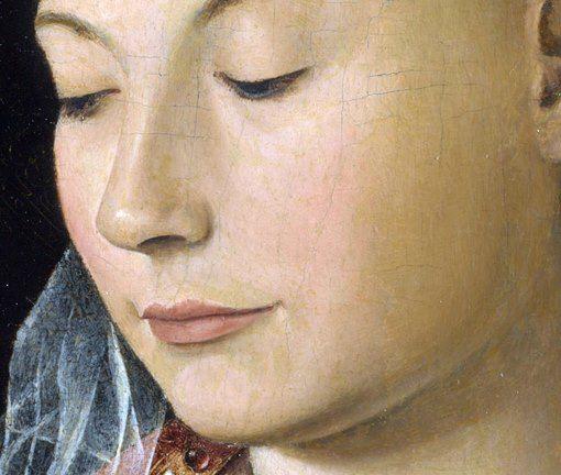Attribuito ad Antonello da Messina: Madonna Salting, o Madonna con Bambino. Olio su tavola del 1460-69. 43,2 X 34,3 cm. National Gallery, Londra. Un bellissimo volto, dalla bocca leggermente sorridente mentre guarda il suo Bambino. C'è un leggero craquelè dovuto al tempo.