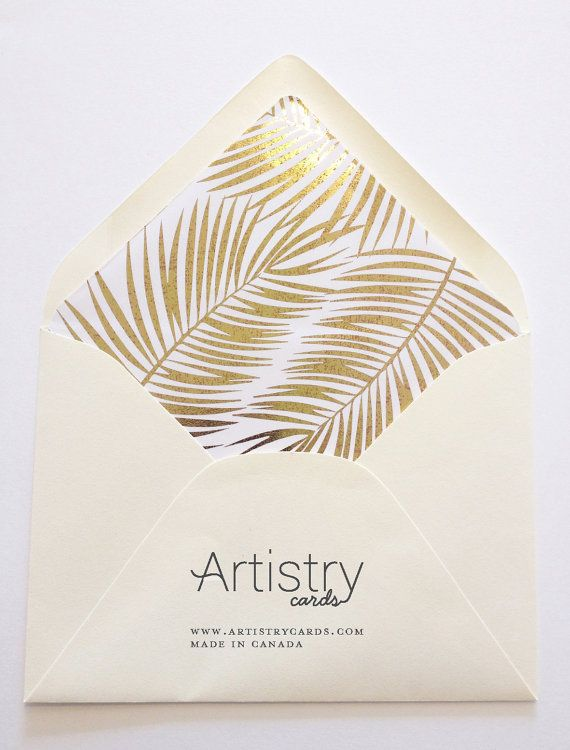 Gold Foil Areca Palm Lined Envelope - Set of 10 Lined Envelopes A nice little added addition to dress up your wedding invitations or personal stationery.  These pre-lined liners comes with your choice of envelope colours. Description A7 envelope size 5 1/4 x 7 1/4 A2 envelope 4 3/8 x 5 3/4  Shipping Due to these liners being custom made to order please allow 7-10 days for shipping. All sales are final due to the liners being custom made to order.  Our envelope liners are p...