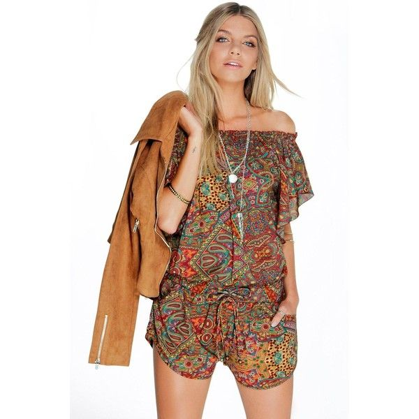 Boohoo Olivia Off The Shoulder Ruffle Paisley Playsuit (925 PHP) ❤ liked on Polyvore featuring jumpsuits, rompers, brown, playsuit romper, party rompers, off the shoulder romper, brown jersey and brown romper