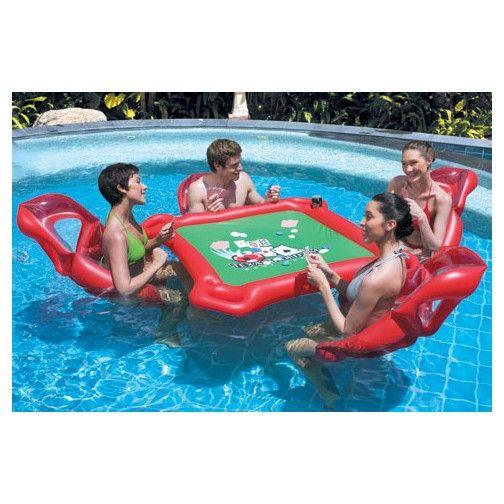 Texas Holdu0027em Inflatable Pool Poker Set W/ Card Table, Floating Lounge  Chairs Poker Set
