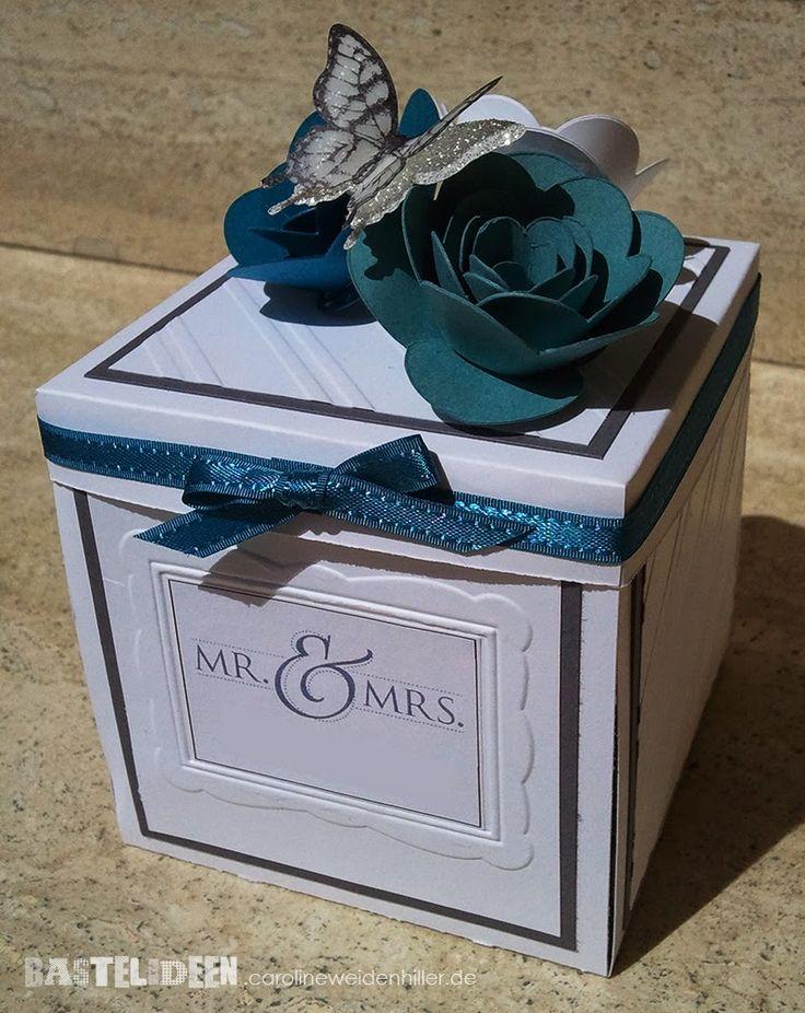 edle Hochzeitsbox - 1 - Stempelset: Fabulous Florets, Papillion Potpurri  Farben: Schiefergrau, Petrol, Lagunenblau Stampin'Up