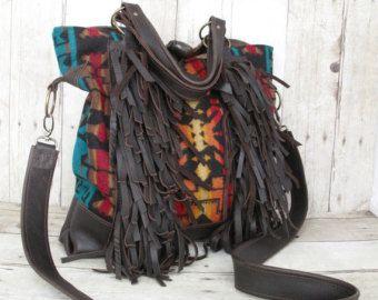 Brown Leather Bag, Fringe Bag, Tote, Leather Messenger, Leather Bag, Indian Blanket Bag, Leather Fringe Bag,  Wool From Pendleton Oregon