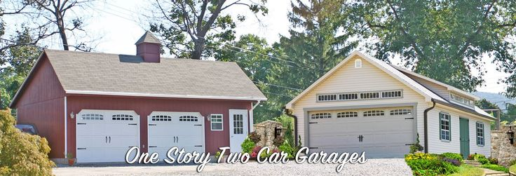 Get Two Car Garage Prices from Sheds Unlimited of Lancaster Pennsylvania. Amish built Detached 2 Car Garages single story and built on site. Garage Builders