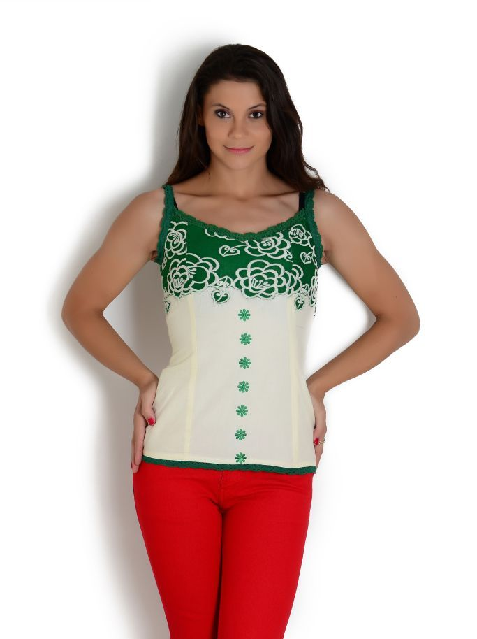 Cream and green corset with crochet detail | Globus Stores Pvt. Ltd.