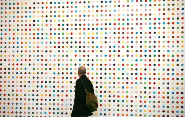 Damien Hirst's spot paintings. Love love his sculptures. And the fact that his art gets people talking and most of the time makes them angry. Perfection.