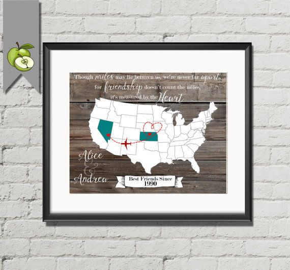 Christmas Gift For Best Friend Moved Away Usa State Custom Map World Custom Teal Watercolor Vintage
