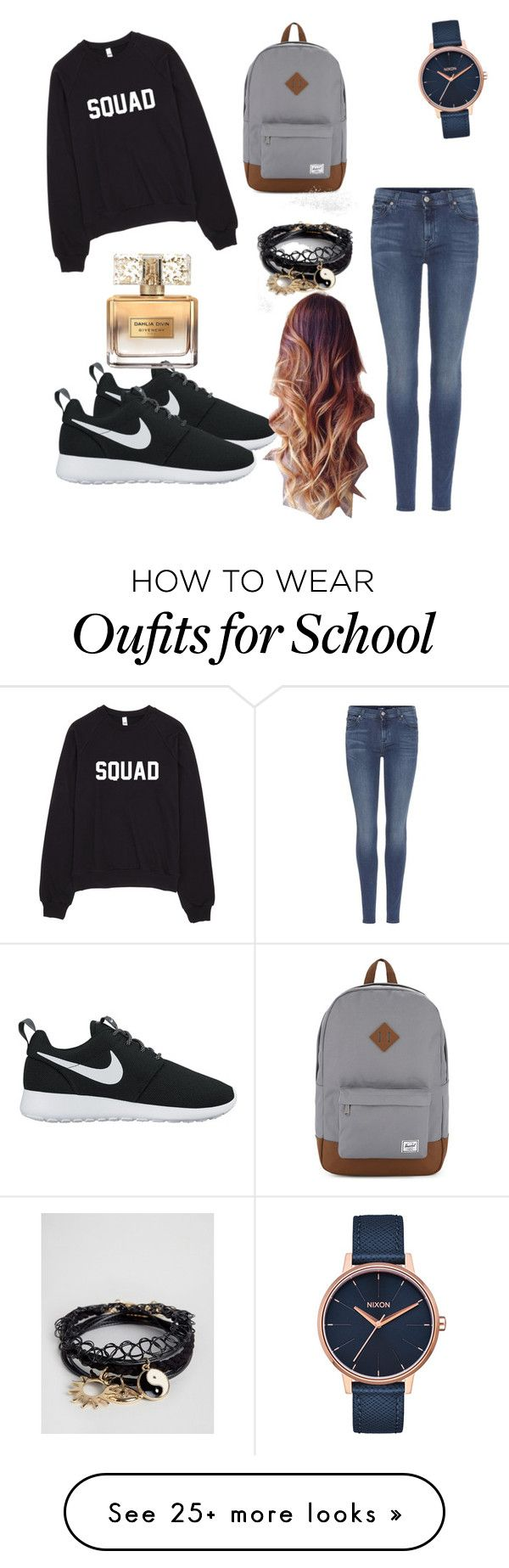 """Casual School Look {#10}"" by zainabchaoui on Polyvore featuring 7 For All Mankind, NIKE, Herschel Supply Co., Nixon, ASOS and Givenchy"