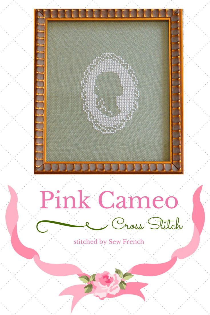 Pink Cameo Cross Stitch ~ Pretty. Shabby Chic. Blush Silk On Sage Green Linen. Embroidery. Handmade. Craft. Cameos.