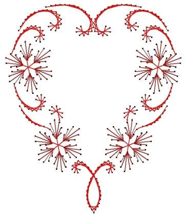 Flowering Heart Swirl Valentine Paper Embroidery Pattern for Greeting Cards by Darse