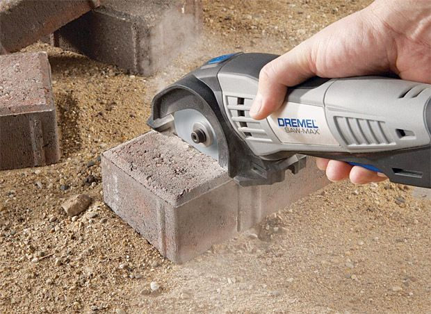 Dremel Saw-Max.  Dremel Saw-Max Most guys with a Dremel rotary tool keep it in a holster strapped to their hip. Now Dremel has introduced the Saw Max. It's like a miniature circular saw that'll cut through just about anything. With a 6 amp motor and Worm Drive gearing, it'll rip through wood, metal, masonry, and tile. Fits right in the palm of your hand or your handy holster.