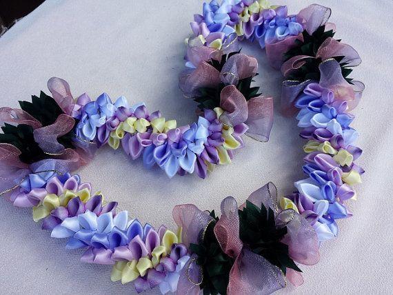 Lavender garden ribbon lei
