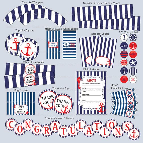Nautical Theme Party Printables #baby_shower #birthday #party_printables #nautical