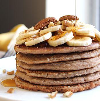 Banana Pecan Pancakes HealthyAperture.com   Pancakes   Pinterest ...