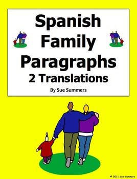 Spanish Family Translation English to Spanish and Spanish to English by Sue Summers - 226 word translation using ser with descriptive adjectives, the verbs gustar, encantar, and odiar with infinitives, and the verb tener for age.