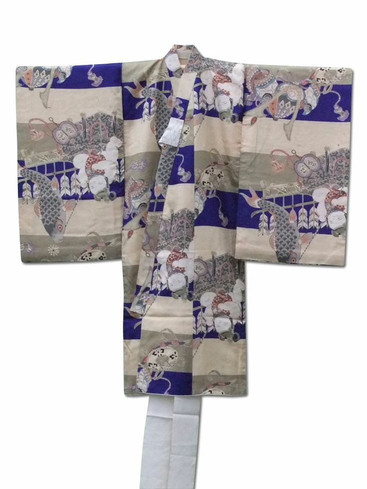 ☆ New Arrival☆ 'Boy's Day' Adorable #silk #vintage #Boy's #Japanese #kimono  http://www.fujikimono.co.uk/fabric-japanese/boys-day.html