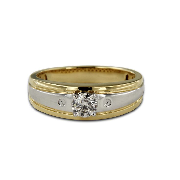 Mens Two Tone Gold Plated 925 Sterling Round Cut Cubic Zircon Band Ring