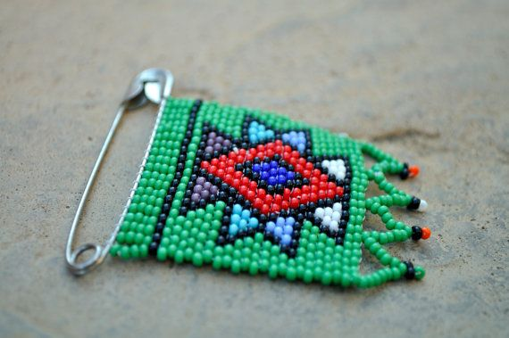 Green African PinBeaded Green Statement by akwaabaAfrica on Etsy