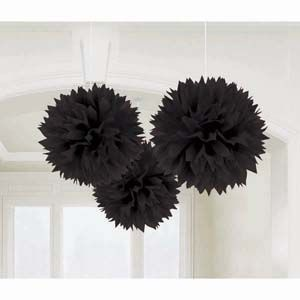 A18055/10 - Fluffy Hanging Decoration - Black Fluffy Hanging Decoration Black (40cm) Pom Pom - Pack of 3. Please note: approx. 14 day delivery time.