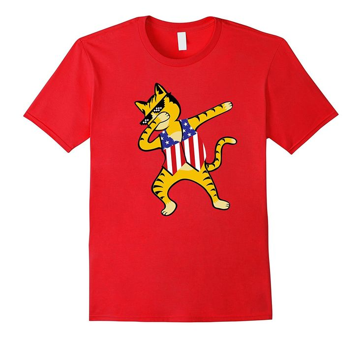 Funny Dabbing Cat Shirt 4th of July Boys Girls Women Men