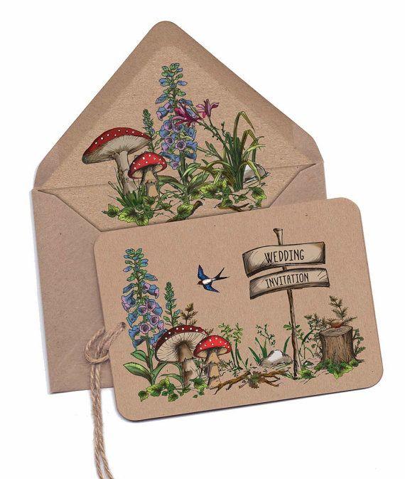 SAMPLE of Woodland walk coloured hand-tied wedding invitation, recycled kraft card, Autumn wedding, Fall wedding, woodland leaves, toadstool