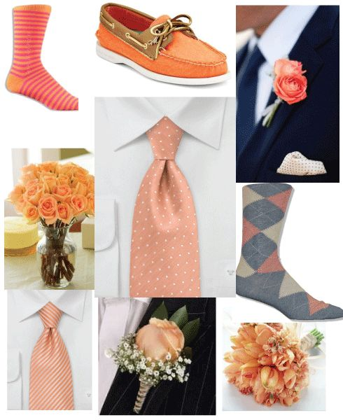 Groomsmen accessories for a peach-themed wedding