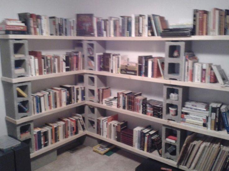 cinder blocks and 2x4s. Bookshelf.