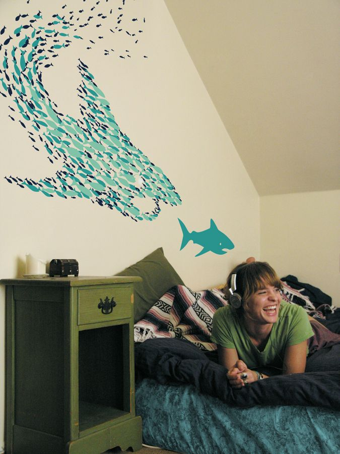 33 best shark attack bedroom images on pinterest child for Best 3d wallpaper for bedroom