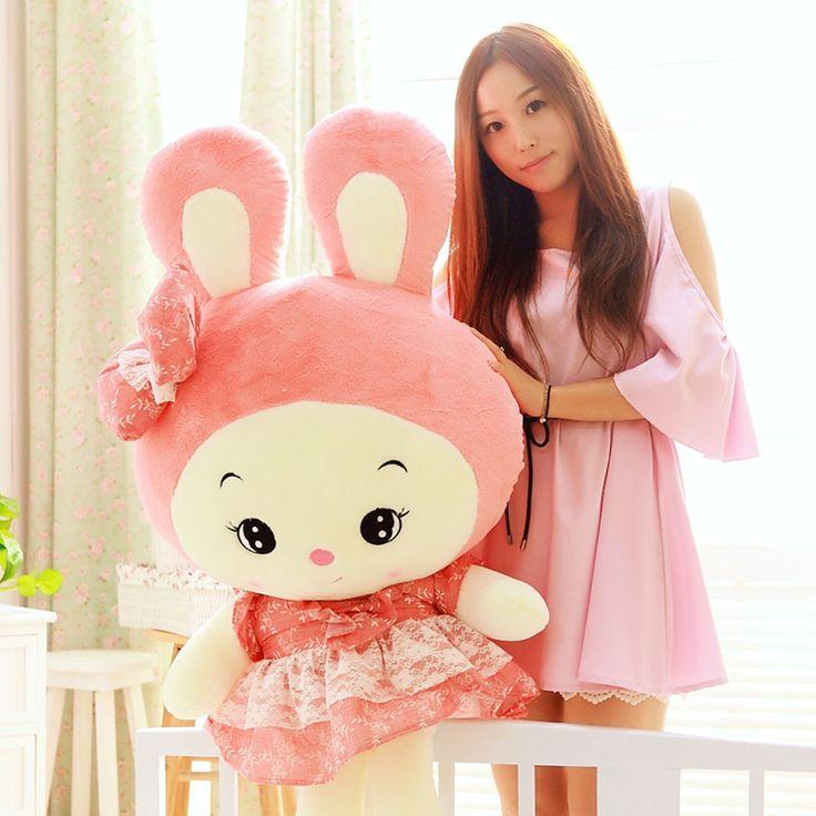 Чучела животных розовый юбка прекрасный кролик плюшевые игрушки около 90 см мягкие куклы t7073
