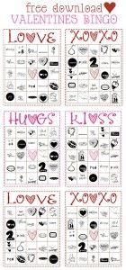 free printable valentines bingo game on lillunacom fun for the whole family - Valentine Bingo Cards