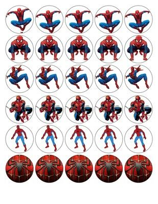 30 X SPIDERMAN TOP QUALITY EDIBLE WAFER/RICE PAPER CUP CAKE TOPPERS   eBay